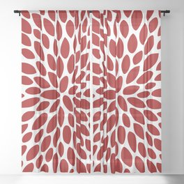 Christmas Floral Bloom, Red and White Sheer Curtain