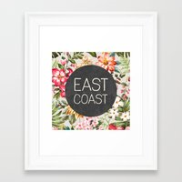 tupac Framed Art Prints featuring East Coast by Text Guy