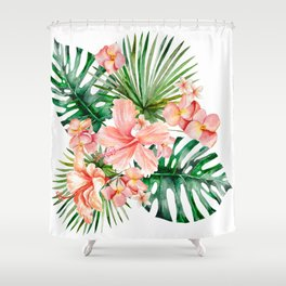 Tropical Jungle Hibiscus Flowers - Floral Shower Curtain