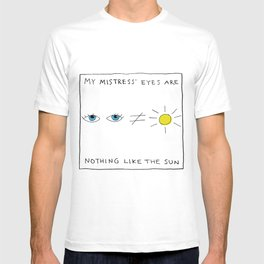 My mistress' eyes are nothing like the sun comic T-shirt