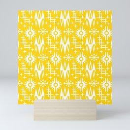 Mid Century Modern Atomic Space Age Pattern Yellow Mini Art Print