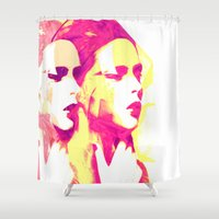 faces Shower Curtains featuring Faces by Paola Rassu