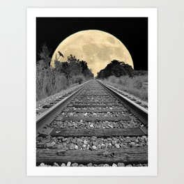 Crow over Railroad Tracks to the Moon A256 Art Print
