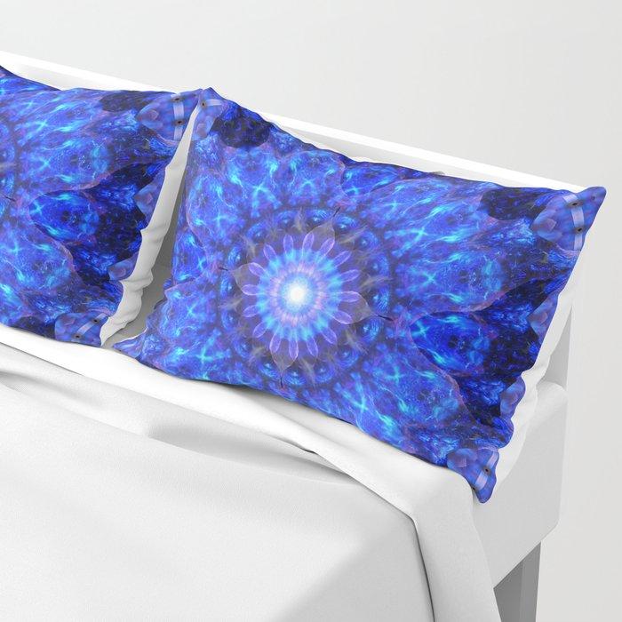 Azure Shield Mandala Pillow Sham