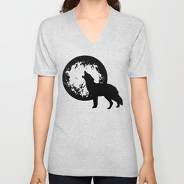 Wolves under full moon wolfpack howling moon Unisex V-Neck