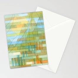 Olive trees by the city -watercolor and pencil city illustration Stationery Cards
