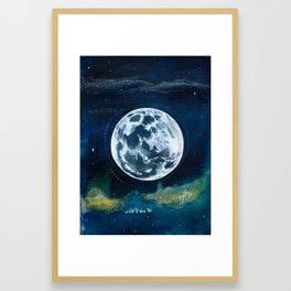 Full Moon Mixed Media Painting Framed Art Print