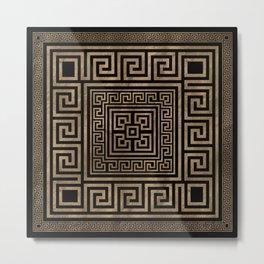 Greek Key Ornament - Greek Meander -Gold on Black Metal Print