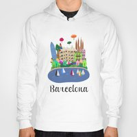 barcelona Hoodies featuring Barcelona  by uzualsunday