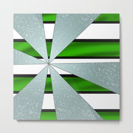 4Shades Glass: Green B/W Reverse Metal Print