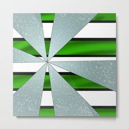 4Shades Glass: Green B/W Reverse Metal Print