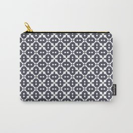 Very Dark Grayish Blue and White Pattern Carry-All Pouch