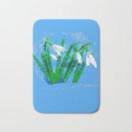 Digital Watercolor snowdrops Bath Mat
