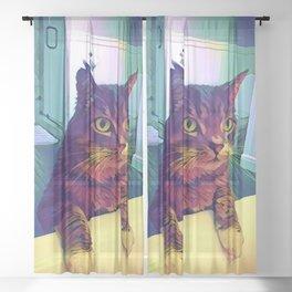 Curious Calvin the Cat Sheer Curtain