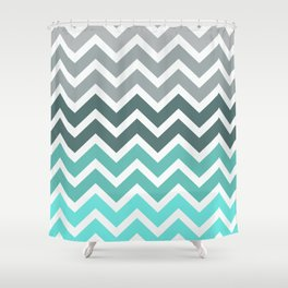 Tiffany Fade Chevron Pattern Shower Curtain