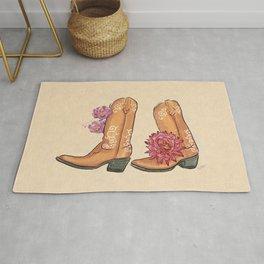 Boots Traveler Succulent Desert Flower_Lavender & Red palette _ digital modern watercolor shoes Rug