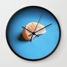 Orange On Blue Wall Clock