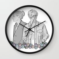 larry stylinson Wall Clocks featuring Larry Stylinson - black and white by Feds