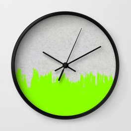 Brushstroke on Concrete - Neon Green Wall Clock