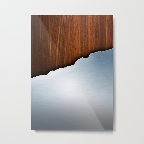 Wooden Brushed Metal Metal Print