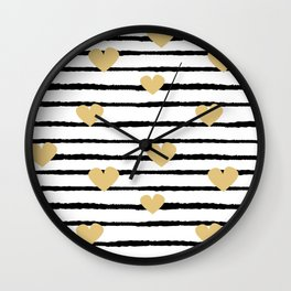 cute pattern with hand drawn gold hearts on black and white stripes Wall Clock