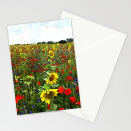 Field of Sunflowers, Bluebonnets, & Red Poppy floral portrait painting by J. Ferro & M. Bruggen  Stationery Cards