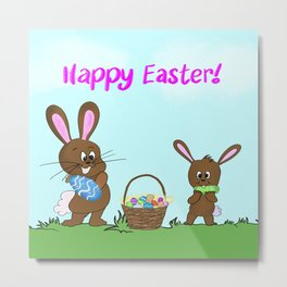 Happy Easter With Bunnies And Easter Basket Metal Print
