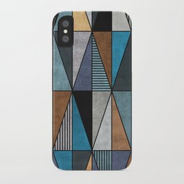Colorful triangles - blue, grey, brown iPhone Case