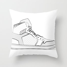 sneaker illustration pop art drawing - black and white graphic Throw Pillow