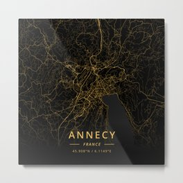 Annecy, France - Gold Metal Print