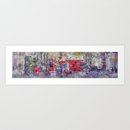 London Street 5 - Double-Decker Bus - by Jennifer Berdy Art Print