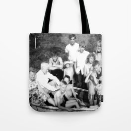 Day at the Lake | Vintage Black and White 1960s Family Photo  Tote Bag