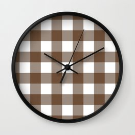 Gingham (Coffee/White) Wall Clock