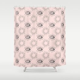 Sun and Eye of wisdom pattern - Pink & Black - Mix & Match with Simplicity of Life Shower Curtain