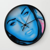 megan lara Wall Clocks featuring Megan by Lucky art