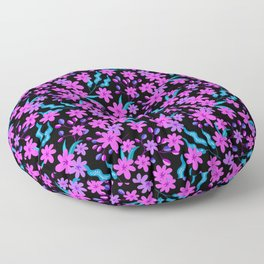 Beautiful girly pink flowers, delicate dark leaves floral fabric black pattern. Fantasy garden Floor Pillow