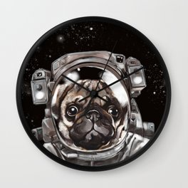 Astronaut Pug Selfie Wall Clock