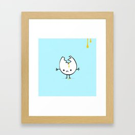 sad mr egg blue Framed Art Print