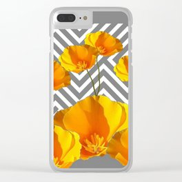YELLOW CALIFORNIA POPPIES MODERN GREY PATTERNS Clear iPhone Case