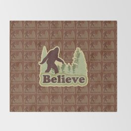 Bigfoot Believe Throw Blanket