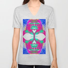 smiling pink skull head with blue and yellow background Unisex V-Neck