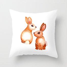 Watercolor Bunnie Throw Pillow