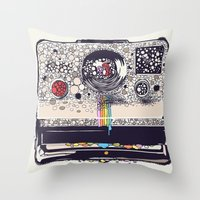 camera Throw Pillows featuring COLOR BLINDNESS by Huebucket