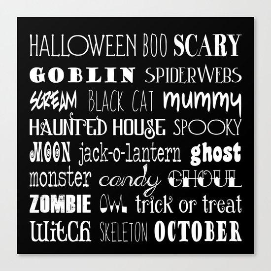 Halloween Typography Black Canvas Print