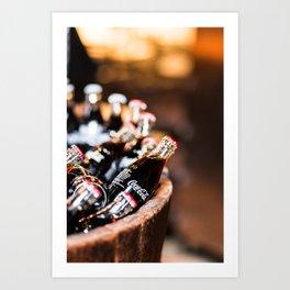 Bottles of Coca Cola in a Wooden Barrel Art Print