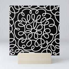 Hand drawn flower doodle circles Mini Art Print