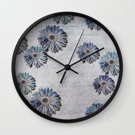 blue daisies par avion Wall Clock