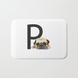P is for Pug Bath Mat