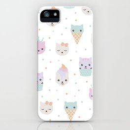 Kawaii breeze summer kitty cupcake cats and snow one ice cream kittens iPhone Case