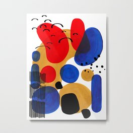 Modern Mid Century Fun Colorful Abstract Minimalist Painting Shapes & Patterns Primary Colors Metal Print